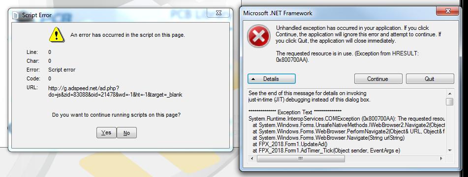 Script errors on program launch - PCB Libraries Forum